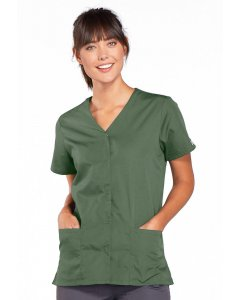 Cherokee Workwear 4770: Womens Cherokee Work Wear Snap Front V-Neck Scrub Top
