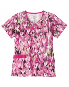 Bio Prints 5219: Womens Contrast Edged V-Neck Top