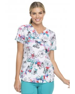 Dickies DK731: Womens V-Neck Printed Scrub Top