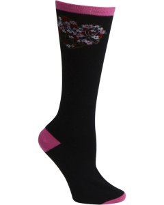 Heartsoul FLORALMYHEART: Womens Pink Ribbon Knee High Sock